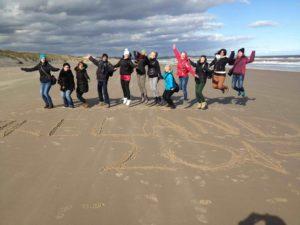 Students at the beautiful beach of Curracloe